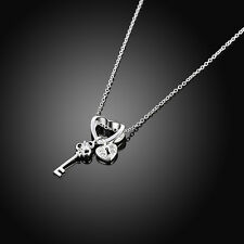 925 Silver Plated Heart Key Pendant Coupe Necklace Chain Valentine's Day Present