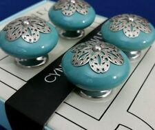 """Cynthia Rowley Set of 4 Aqua Blue Ceramic Drawer Knobs New Shabby Chic Decor 2"""""""