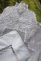 Stunning Antique French Linen Hand Crochet Lace Tablecloth c1900s