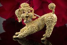 Schmuck Hund Pudel Brosche Nadel mit Diamanten & Rubin Augen in 750er Gelbgold