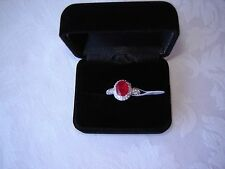 Designer Red Ruby & White Cz 925 Silver Ring, size 9