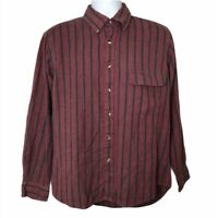 Vintage 90s Sears Roebuck Button Shirt Red Striped Single Needle Tailoring Top