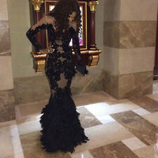 Black Beaded Long Mermaid Pageant Prom Dress Formal Evening Celebrity Party Gown