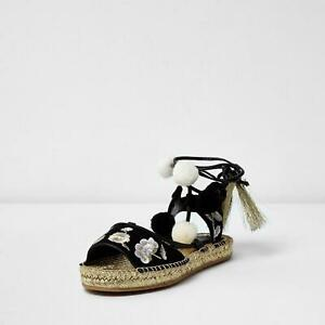 River Island Rosa Pom Pom Embroidered Espadrilles Sandals  Size 2-9 RRP £38