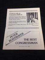 Vintage 1982 Political Pamphlet Peter Kostmayer Bucks County PA Democrat