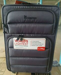 IT Luggage World's Lightest 4 Wheel Quilted Front Panel Charcoal Cabin 55cm
