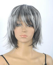 Hot Sell New Fashion Black White Short Straight Women Lady Hair Wig Wigs+Wig Cap