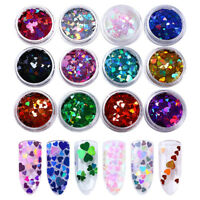 12 Boxes Holographic Nail Sequins Multi-size Iridescent Heart Paillette Manicure