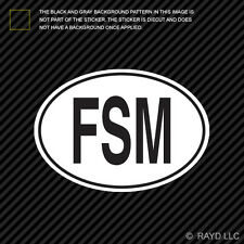 FSM Federated States of Micronesia Country Code Oval Sticker Decal Self Adhesive