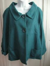 JOSEPHINE CHAUS $119 Virgin Wool/Cashmere Two-Button Siam Blue Jacket sz 16 NWT