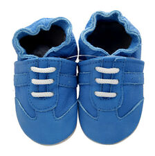 Baby Boy Infant Soft Sole Leather Shoes Blue Sneaker B39 US 0-6M
