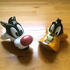 Vintage Looney Tunes Sylvester Cat Stapler & Daffy Duck Tape Dispenser (1995)