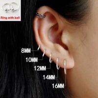 100% 925 Sterling Silver Earrings Mini Small Hoop Ear Bone Ring For Women Men