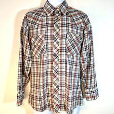 Vtg 70s Mens Dickson Jenkins Western Shirt Cowboy Pearl Snap Red Blue Plaid M/L