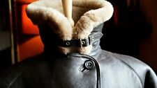 RARE CIRRUS ENGLAND Sheepskin Leather Coat Flying Aviator Pilot Jacket