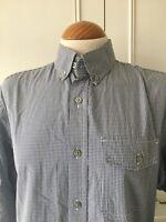 BANANA REPUBLIC Men's Shirt Size 14 Small S Grey White check Long Sleeve
