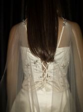 "Cape drape style Ivory wedding veil 90"" chapel length 1 tier with diamante clips"