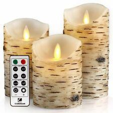 Birch Bark Battery Candle Flickering Set of 3 With Remote Timer Real Wax Pillar