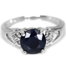 GENUINE BLUE SAPPHIRE ROUND HEATED & WHITE CZ STERLING 925 SILVER RING SIZE 9