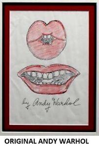 ORIGINAL ANDY WARHOL DRAWING * LIPS * CIRCA 1960 MIXED MEDIA ON PAPER