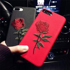 Bordado Rosa móvil 3d de flores funda blanda funda para iPhone 7 7plus S7 EDGE