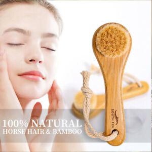 100% Natural Hair Bristles Bamboo Brush Face/Baby Wash Beauty Skin Care Massage