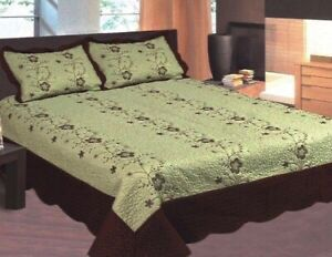 SOFIA FLOWERS GREEN/BROWN EMBROIDERED BEDSPREAD COVERLET SET 3 PCS QUEEN SIZE