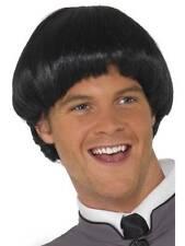 Mens 60s Black Bowl Wig 1960s Fancy Dress Accessory Short Beatles Smiffys 42012