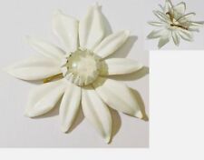 broche ancienne fleur blanche relief cabochon de verre * 4858