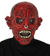 Mens Red Devil Mask Latex Overhead Demon Dead Scary Halloween Fancy Dress Masque