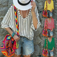 Plus Size Women Striped V Neck Baggy Tops 1/2 Sleeve Casual T-Shirts Blouse