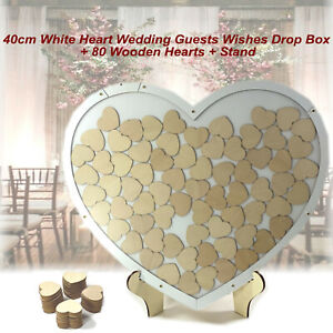 Large 80 Wooden Hearts Wishes Drop Box Wedding Birthday Engagement Guest Book