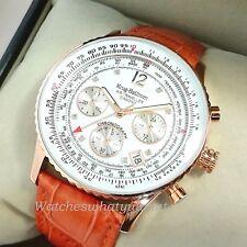 Krug Baumen Men's Pilots Diamond Rose Gold Watch Tan Leather NEW £775