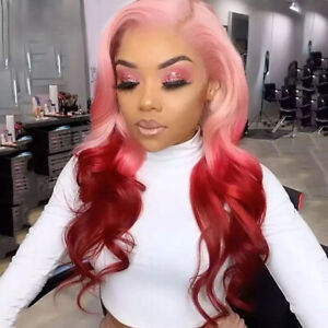 Women Long Wave Pink Red Lace Front Wig Heat Safe Costumes Natural Synthetic Wig