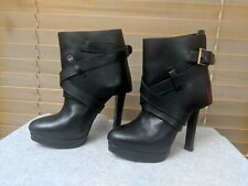 ALEXANDER MCQUEEN Black Leather Fold-over Round Toe Ankle Booties Heels 37