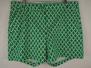 Crown & Ivy Curvy Caroline Shorts 18W Womens Lattice Green White Cotton Stretch