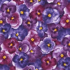 Timeless Treasures Pansies packed purple 100% cotton fabric by the yard