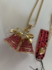 Betsey Johnson Fuchsia Crystal Bowknot Christmas Bell Chain Necklace-BJ59106