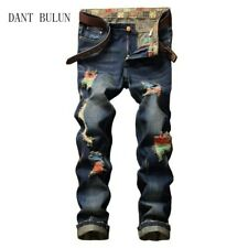 W42 L32 Fashion Patchwork Ripped Mens Denim  Jeans