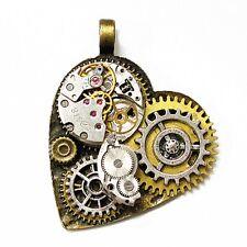 steampunk rock pendant chain heart watch clock parts gears men women diy jewelry