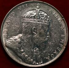 1907 Straits Settlements (Malaysia) One Dollar Silver Foreign Coin