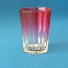 Antique Victorian Cranberry to Clear Glass Beaker ~ 10 sides