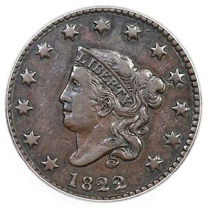 1822 N-4 R-2 ICG VF 30 Matron or Coronet Head Large Cent Coin 1c