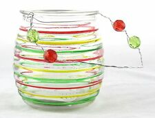 Green Red Yellow Striped Glass Bucket Hanging Tea Light Holder Yankee Candle NEW