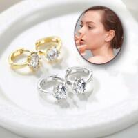 Trendy Silver Gold Sparkling Round Cubic Zirconia Cartilage Huggie Hoop Earrings