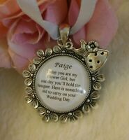 Flowergirl BRIDAL BOUQUET CHARM PERSONALISED WEDDING THANK YOU dress charm