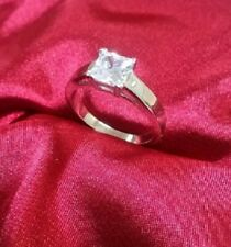 Promise Ring White Gold ov Princess cut Diamond Solitaire Engagement Anniversary