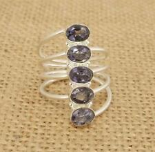 Cut Iolite 925 Silver Ring UK Size N-US size 6 3/4 Indian Jewellery