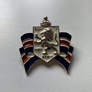 X-Large British Military Uniform pin badge Dieu Et Mon Droit Coat of Arms broach