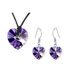 Dark Purple Hearts Jewellery Set Drop Earrings Leather Necklace Pendant S801